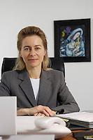 12 DEC 2005, BERLIN/GERMANY:<br /> Ursula von der Leyen, CDU, Bundesfamilienministerin, an ihrem Schreibtisch, in ihrem Buero, Bundesministerium fuer Familie, Senioren, Frauen, und Jugend<br /> Ursula von der Leyen, Federal Minister for family, Seniors, Women and Youth, in her office<br /> IMAGE: 20051212-01-003<br /> KEYWORDS: Büro