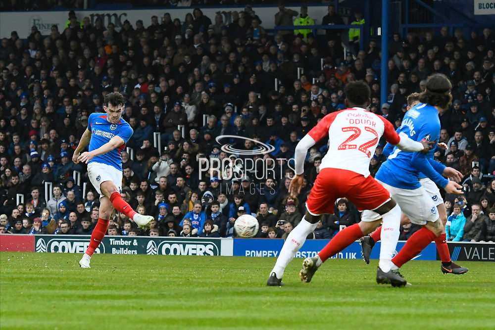 John Marquis (10) of Portsmouth takes a free kick which is blocked during the The FA Cup match between Portsmouth and Barnsley at Fratton Park, Portsmouth, England on 25 January 2020.