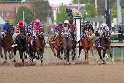 May 3, 2019 - Louisville, KY, U.S. - LOUISVILLE, KY - MAY 03: The pack heads down the front stretch at the start of the Kentucky Oaks race at Churchill Downs Racetrack on May 4, 2018 in Louisville, Kentucky. (Photo by Jeffrey Brown/Icon Sportswire) (Credit Image: © Jeffrey Brown/Icon SMI via ZUMA Press)