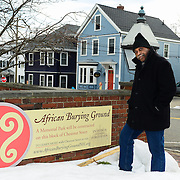 "Carlyle Brown in Portsmouth, NH prior to performing his one-man show ""The Fula from America: An African Journey"" at The Music Hall, in support of the African Burying Groung Memorial."