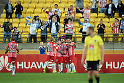 Melbourne City FC players celebrate a goal during the Hyundai A-League, Wellington Phoenix vs Melbourne City, Westpac Stadium, Wellington, Saturday 18th February 2017. Copyright Photo: Raghavan Venugopal / www.photosport.nz