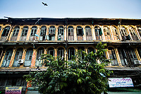 An old building in downtown Yangon, Myanmar.