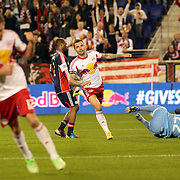 Jonny Steele, New York Red Bulls, scores a goal past New England Revolution goalkeeper Bobby Shuttleworth during the New York Red Bulls V New England Revolution, Major League Soccer regular season match at Red Bull Arena, Harrison, New Jersey. USA. 20th April 2013. Photo Tim Clayton