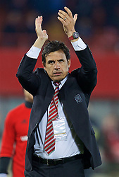 VIENNA, AUSTRIA - Thursday, October 6, 2016: Wales' manager Chris Coleman applauds the travelling supporter after the 2018 FIFA World Cup Qualifying Group D 2-2 draw with Austria at the Ernst-Happel-Stadion. (Pic by David Rawcliffe/Propaganda)