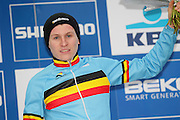 BELGIUM / ZOLDER / CYCLING / WIELRENNEN / CYCLISME / CYCLOCROSS / CYCLO-CROSS / VELDRIJDEN / WERELDBEKER / WORLD CUP / COUPE DU MONDE / JUNIORS / PODIUM / CELEBRATION / HULDIGING / THIJS AERTS (BEL) /