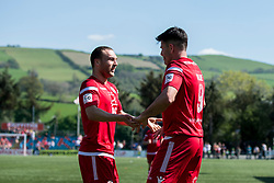 NEWTOWN, WALES - Sunday, May 6, 2018: Michael Wilde of Conahs Quay Nomads celebrates scoring his sides third goal with Ryan Wignall during the FAW Welsh Cup Final between Aberystwyth Town and Connahs Quay Nomads at Latham Park. (Pic by Paul Greenwood/Propaganda) Rob Hughes Jonny Spittle