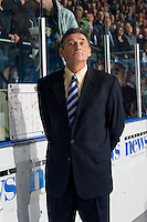 KELOWNA, CANADA, OCTOBER 1: Don Hay, Head Coach of the Vancouver Giants stands on the bench opposite the Kelowna Rockets on October 1, 2011 at Prospera Place in Kelowna, British Columbia, Canada (Photo by Marissa Baecker/Getty Images) *** Local Caption ***Don Hay;