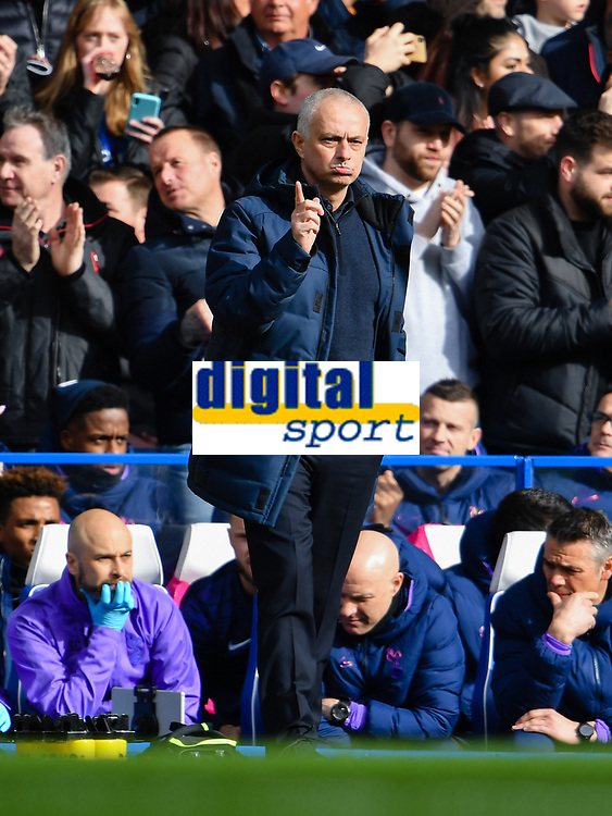 Football - 2019 / 2020 Premier League - Chelsea vs. Tottenham Hotspur<br /> <br /> Tottenham Hotspur Head Coach Jose Mourinho gestures as Chelsea's Olivier Giroud scores the opening goal, at Stamford Bridge.<br /> <br /> COLORSPORT/ASHLEY WESTERN