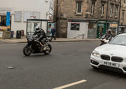 A group of motor cyclists rampage through the streets of Edinburgh before being involved in a collision in the Drylaw area of the town.