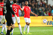Goal England forward Raheem Sterling scores a goal and celebrates 0-5 during the UEFA European 2020 Qualifier match between Bulgaria and England at Stadion Vasil Levski, Sofia, Bulgaria on 14 October 2019.