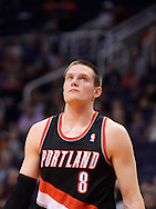 Oct. 12, 2012; Phoenix, AZ, USA; Portland Trail Blazers forward Luke Babbitt (8) reacts on the court during the game against the Phoenix Suns at US Airways Center. The Suns defeated the Trail Blazers 104-93.  Mandatory Credit: Jennifer Stewart-US PRESSWIRE