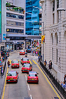 Chine, Hong Kong, Hong Kong Island, quartier branché de Soho, Hollywood road, taxi // China, Hong Kong, Hong Kong Island, Soho in Hollywood road, taxi car