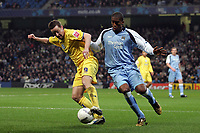 Photo: Paul Thomas.<br /> Manchester City v Sheffield Wednesday. The FA Cup. 16/01/2007.<br /> <br /> Man City's Sylvain Distin (R) battles with Steve MacLean.