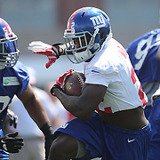 Running back David Wilson (centre), in action during the 2013 New York Giants Training Camp at the Quest Diagnostics Training Centre, East Rutherford, New Jersey, USA. 29th July 2013. Photo Tim Clayton.