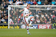 MK Dons defender Dean Lewington  makes a clearance during the Sky Bet Championship match between Milton Keynes Dons and Brighton and Hove Albion at stadium:mk, Milton Keynes, England on 19 March 2016. Photo by Dennis Goodwin.