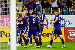 Players of NK Maribor celebrate after scoring first goal  during 2nd Leg football match between NK Maribor and FC Chikhura in 2nd Qualifying Round of UEFA Europa League 2018/19, on August 2, 2018 in Ljudski vrt, Maribor, Slovenia. Photo by Ziga Zupan / Sportida