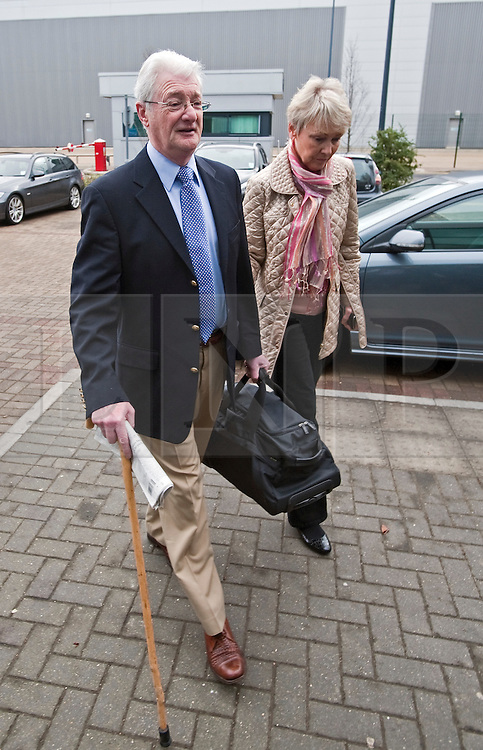 © Licensed to London News Pictures. 24/02/2012. Heathrow, UK. Christopher Tappin and his wife Elaine arriving at Heathrow Police station where Christopher Tappin surrendered himself  for extradition to the the USA. Christopher Tappin is charged with conspiring to export defence articles without licence or approval in relation to the sale of batteries that were allegedly used in Iranian surface-to-air missiles. Photo credit : Ben Cawthra/LNP