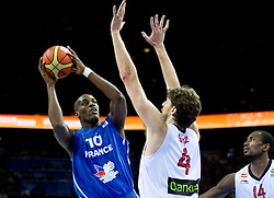 Ali Traore of France vs Pau Gasol of Spain during final basketball game between National basketball teams of Spain and France at FIBA Europe Eurobasket Lithuania 2011, on September 18, 2011, in Arena Zalgirio, Kaunas, Lithuania. (Photo by Vid Ponikvar / Sportida)