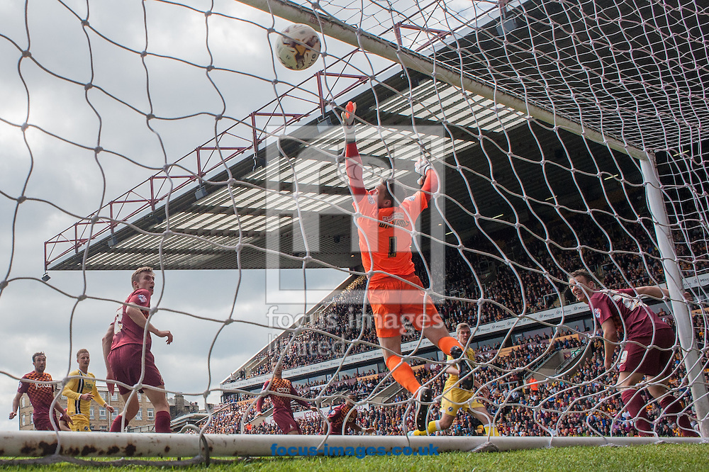 Bradford City goalkeeper Ben Williams is left grasping for air as Steve Morison of Millwall scores with a header  during the Sky Bet League 1 Playoff  Semi-final Leg One at the Coral Windows Stadium, Bradford<br /> Picture by Matt Wilkinson/Focus Images Ltd 07814 960751<br /> 15/05/2016