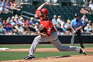 MESA, AZ - MARCH 09:  Seth Mejias-Brean #46 of the Cincinnati Reds delivers a pitch in the first inning in the spring training game against the Oakland Athletics at HoHoKam Stadium on March 9, 2017 in Mesa, Arizona.  (Photo by Jennifer Stewart/Getty Images)
