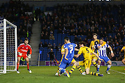 Brighton central midfielder, Beram Kayal (7) crosses the ball during the Sky Bet Championship match between Brighton and Hove Albion and Fulham at the American Express Community Stadium, Brighton and Hove, England on 15 April 2016. Photo by Phil Duncan.