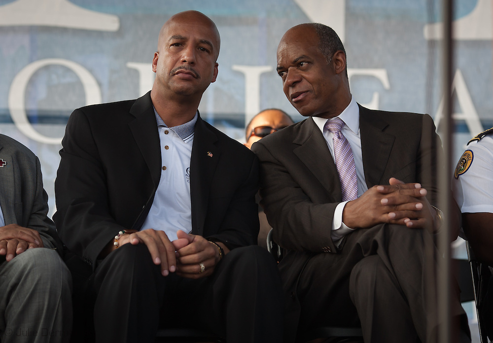 August 29, 2008, New Orleans, Mayor Ray Nagin with William Jefferson  at a ceremony on the 3rd  anniversary of Hurricane Katrina. Ray Nagin and William Jefferson were later  convicted for corruption by the federal government.