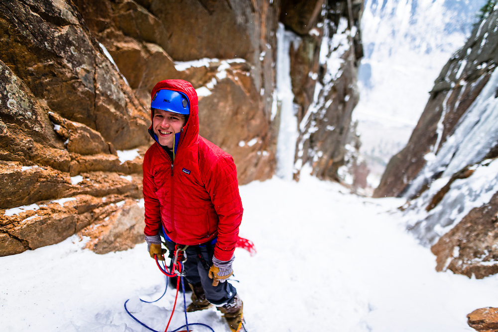 Amc Ice climbing student at the base of Green Mile on Mount Webster