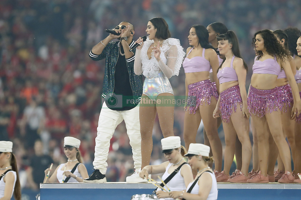 (L-R) artist Sean Paul, artist Dua Lipa during the UEFA Champions League final between Real Madrid and Liverpool on May 26, 2018 at NSC Olimpiyskiy Stadium in Kyiv, Ukraine
