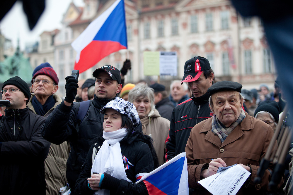 Demonstration against the Czech government's social reforms and budget cuts at Old Town Square during the 17th of November 2011 -  the national holiday (Day of Struggle for Freedom and Democracy) in Prague.
