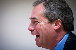 © London News Pictures. 01/03/2013 . Eastleigh, UK.  UKIP (UK INdependence Part) leader NIGEL FARAGE  speaking at a media conference after the party came second in the Eastleigh by-election. Photo credit : Ben Cawthra/LNP