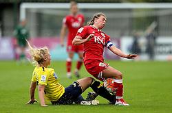 Jodie Brett of Bristol City Women is tackled by Rosie Lane of Oxford United - Mandatory by-line: Robbie Stephenson/JMP - 25/06/2016 - FOOTBALL - Stoke Gifford Stadium - Bristol, England - Bristol City Women v Oxford United Women - FA Women's Super League 2