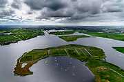 Nederland, Zuid-Holland, Gemeente Teylingen, 28-04-2017; Kagerplassen in stemmig voorjaarsweer. Veenplassen met kenmerkende eilanden.<br /> Peat lakes with characteristic islands in moody spring weather.<br /> luchtfoto (toeslag op standard tarieven);<br /> aerial photo (additional fee required);<br /> copyright foto/photo Siebe Swart