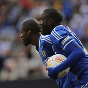 Ramires and Demba Ba, Chelsea celebrate a Ramires goal during the Manchester City V Chelsea friendly exhibition match at Yankee Stadium, The Bronx, New York. Manchester City won the match 5-3. New York. USA. 25th May 2012. Photo Tim Clayton