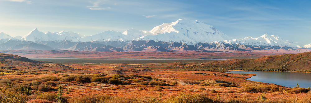 Composite panorama of Denali (Mt. McKinley) and the Alaska Range with Wonder Lake in Denali National Park in late fall in Southcentral Alaska. Morning.