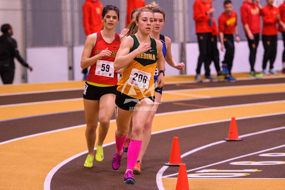 Robyn Ham in action during the 2018 Canada West Track & Field Championship on February  23 at James Daly Fieldhouse. Credit: Arthur Ward/Arthur Images