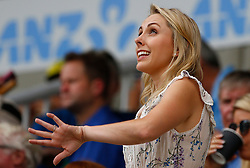 Dani Willis ( Partner of Steve Smith ) looks on during a rain delayduring day one of the Ashes Test match at The Gabba, Brisbane.