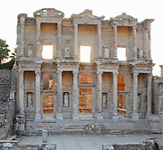 Library of Celsus, built 110-135 AD under Consul Julius Celsus Polemaenus, governor of the province of Asia, Ephesus, Izmir, Turkey. Celsus paid for the construction with his own personal wealth, and is buried in a sarcophagus beneath it. The library held nearly 12,000 scrolls in cupboards in niches in the double walls, which protected the documents from temperature and humidity. Ephesus was an ancient Greek city founded in the 10th century BC, and later a major Roman city, on the Ionian coast near present day Selcuk. Picture by Manuel Cohen