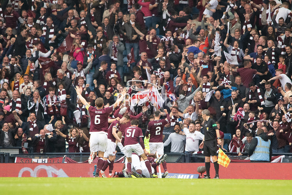 Hearts players celebrate in front of their fans during the William Hill Scottish Cup Final match between Heart of Midlothian and Celtic at Hampden Park, Glasgow, United Kingdom on 25 May 2019.