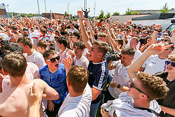 Fans celebrate outside as the full time whistle is blown and England defeat Panama - Ryan Hiscott/JMP - 24/06/18 - Ashton Gate - Bristol, England - Fans Visit the World Cup Village at Ashton Gate for the England v Panama Group Match, Ashton Gate