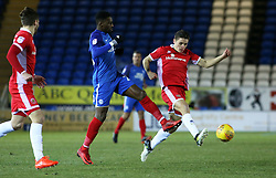 Omar Bogle of Peterborough United challenges for the ball with George Dobson of Walsall - Mandatory by-line: Joe Dent/JMP - 27/02/2018 - FOOTBALL - ABAX Stadium - Peterborough, England - Peterborough United v Walsall - Sky Bet League One