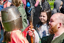 Medieval Day. Dirleton Castle, East Lothian, Scotland, United Kingdom, 11 May 2019. Pictured:  Historic Environment Scotland family fun day at the Living Medieval Village by Saltire History Society in the castle gardens.<br /> <br /> Sally Anderson | EdinburghElitemedia.co.uk