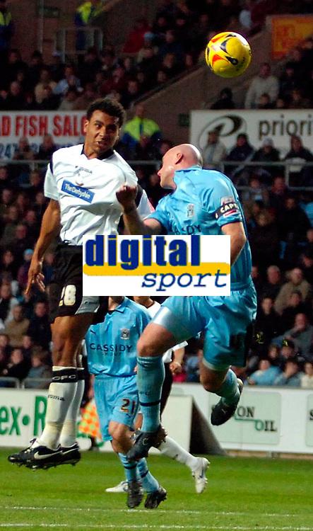 Photo: Ed Godden.<br />Coventry City v Derby County. Coca Cola Championship. 11/11/2006. Derby's Giles Barnes (L) heads the ball into the area.