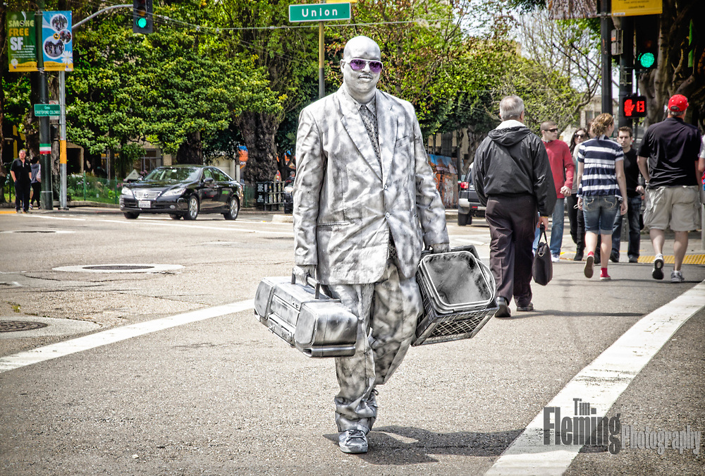 Performer carrying boombox in San Francisco, California