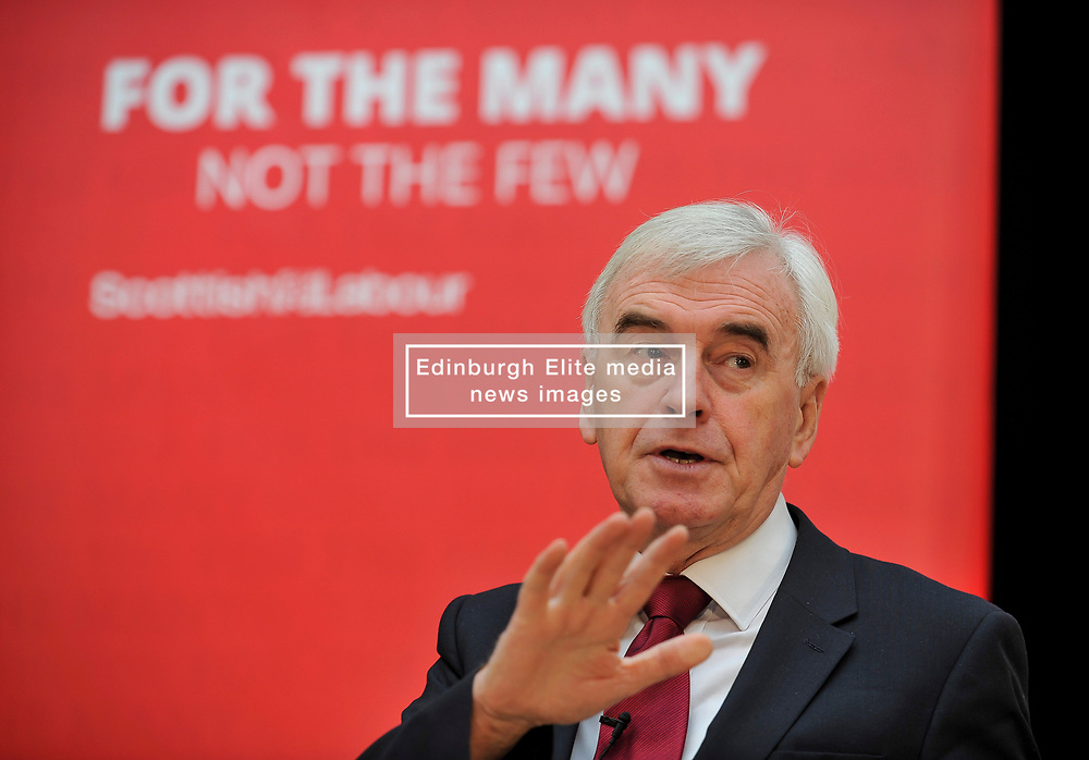 Pictured: John McDonnell before his speech in Airdrie.<br /> <br /> Labour shadow Chancellor John McDonnell gave an important speech to the 'Road to Rebuilding the Economy' conference in Airdrie on Saturday, along with Scottish Labour leader Richard Leonard.<br /> <br /> © Dave Johnston / EEm