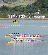 Chungju, South Korea. GBR M8+ winning the Gold medal and presentation of the medal at the 2013 World Rowing Championships, Tangeum Lake, International Regatta Course.  Sunday  01/09/2013 [Mandatory Credit. Peter Spurrier/Intersport Images]