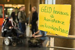 April 4, 2017 - Berlin, Berlin, Germany - About 50 disability rights activists and their assistants occupied the town hall in Friedrichshain-Kreuzberg. The demonstrators make the Berlin district of Friedrichshain-Kreuzberg responsible for the currently very tense economic situation of the assistance service 'ambulante dienste' because of unpaid bills for services already provided support services in hospitals. They emphasize that for many people with physical disabilities, it is very important that they accompany a trusted person in a hospital stay. Responsible city councilor KNUT MILDNER-SPINDLER (Left Party) did not appear despite the request. (Credit Image: © Jan Scheunert via ZUMA Wire)