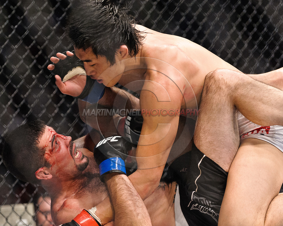 "ATLANTA, GEORGIA, SEPTEMBER 6, 2008: Dong Hyun Kim (top) keeps the pressure on a grounded Matt Brown during ""UFC 88: Breakthrough"" inside Philips Arena in Atlanta, Georgia on September 6, 2008"