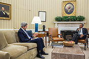 29.JULY.2013. WASHINGTON D.C.<br /> <br /> PRESIDENT BARACK OBAMA MEETS WITH SECRETARY OF STATE JOHN KERRY IN THE OVAL OFFICE, JULY 29, 2013.<br /> <br /> BYLINE: EDBIMAGEARCHIVE.CO.UK<br /> <br /> *THIS IMAGE IS STRICTLY FOR UK NEWSPAPERS AND MAGAZINES ONLY*<br /> *FOR WORLD WIDE SALES AND WEB USE PLEASE CONTACT EDBIMAGEARCHIVE - 0208 954 5968*