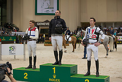 Podium Indoor Cross <br /> 1. Eddy Sans<br /> 2. Tim LIps<br /> 3. Thomas Carlile<br /> Indoor cross presented by Rolex<br /> Concours Hippique International de Genève 2014<br /> © Hippo Foto - Dirk Caremans