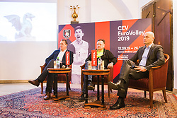 Metod Ropret from OZS, representative of the main sponsor Petrol and Zoran Jankovic Mayor at Count down ceremony to CEV Euro Volley 2019 in Ljubljana, Slovenia.